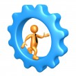 Businessman Running Inside A Cogwheel — Stock Photo