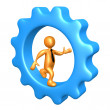 Businessman Running Inside A Cogwheel — Stock Photo #2616983