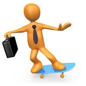 Businessman On Skateboard — Stock Photo