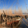 Stock Photo: Old boat in reed