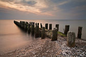 Groyne in the evening — Stock Photo