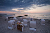 Beach chairs in the evening — Stock Photo