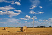 Bales of straw and a windmill — Stock Photo