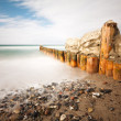 Stock Photo: Snow on groyne
