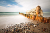 Snow on a groyne — Stock Photo