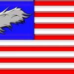 Bald eagle on American flag — Stock Photo
