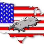 Bald eagle on American flag — Stock Photo #2223814