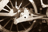 Vintage steam engine wheel — Stock Photo