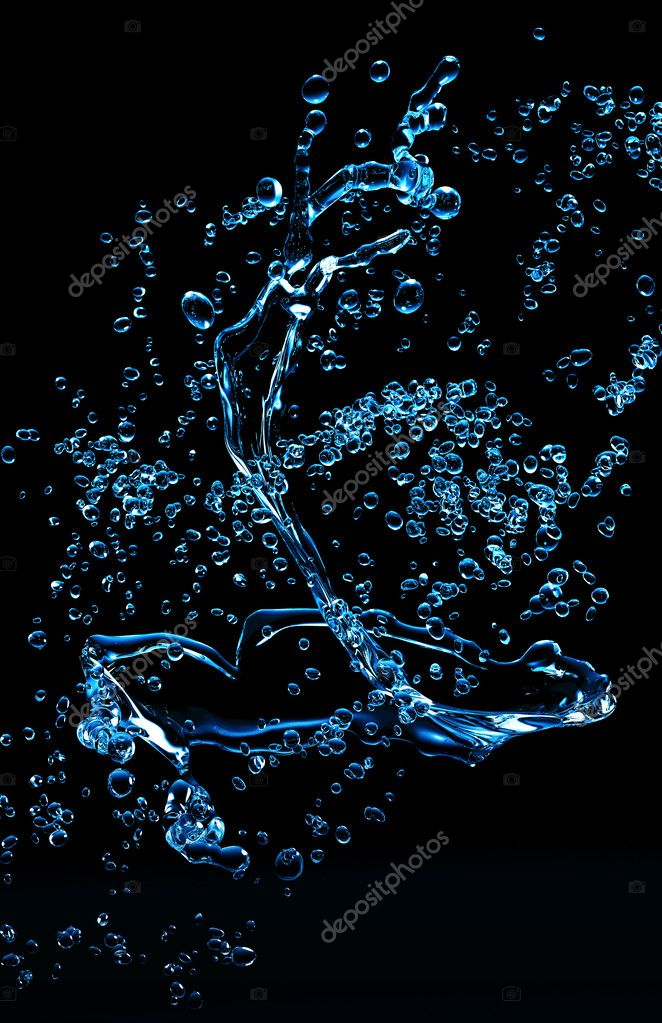 Blue water on black background  Stock Photo #2225276