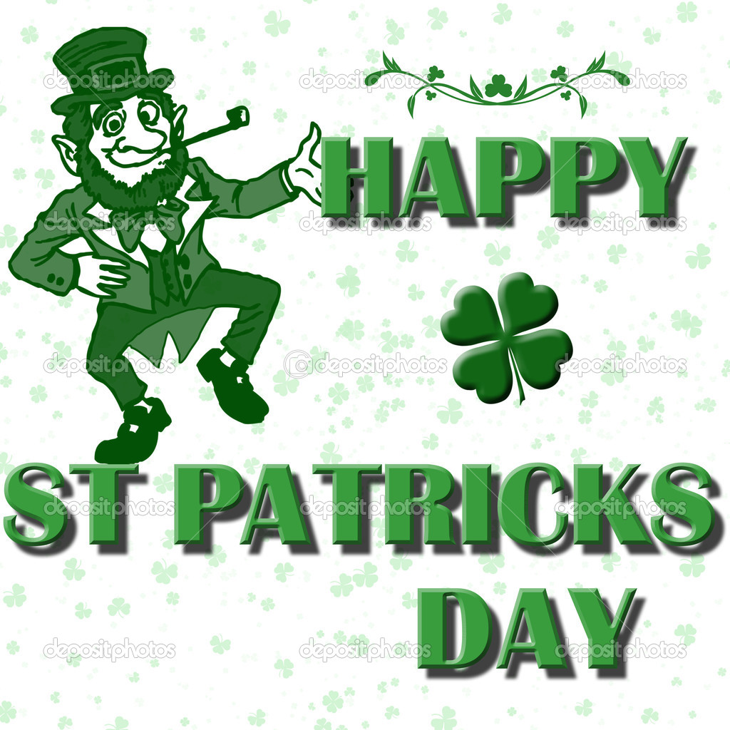 Happy st patricks day with four leaf clovers and lucky leprechaun — Stock Photo #2174741