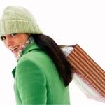 kvinna som bär shopping väska — Stockfoto