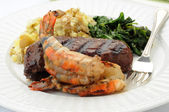 Grilled Shrimp and Steak — Stock Photo