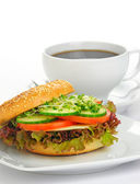 Delicious Bagel Sandwich — Stock Photo