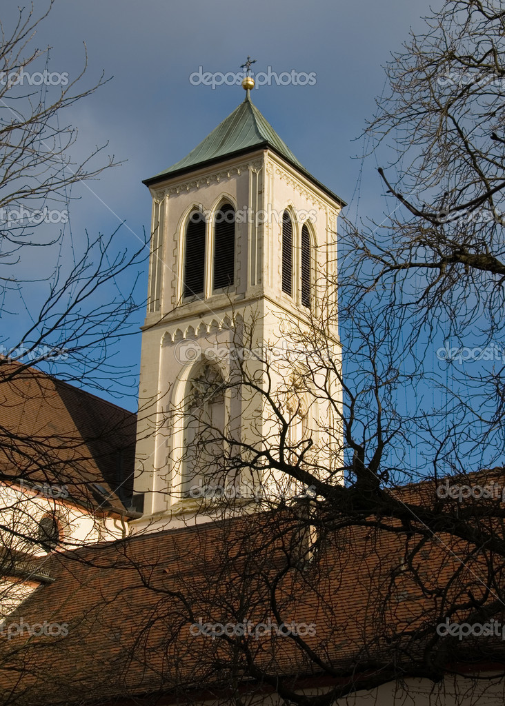 The belltower of a church in Freiburg, Germany — Stock Photo #2225955