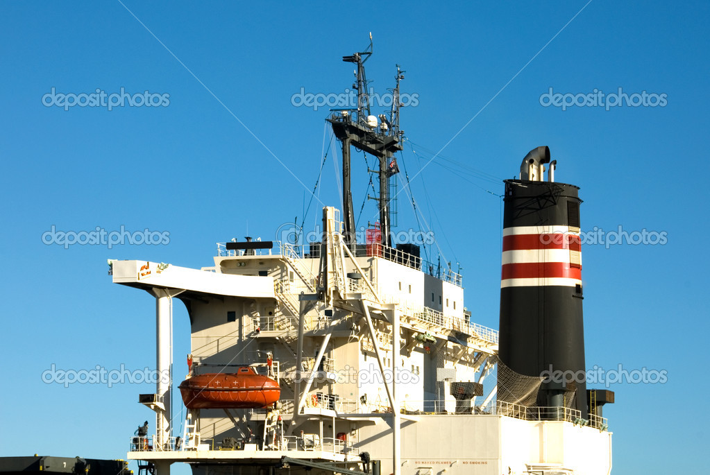 The Funnel and Bridge of a coal ship, Newcastle Harbour, New South Wales, Australia — Stock Photo #2226473