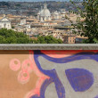 Royalty-Free Stock Photo: Roman view over graffiti wall
