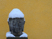 Buddha in the snow — Stock Photo