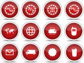 02 kırmızı simge seti — Stok Vektör
