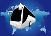 Viaggio in autobus mondo — Vettoriale Stock
