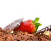 Strawberry and Chocolate Cake Decoration — Stock Photo