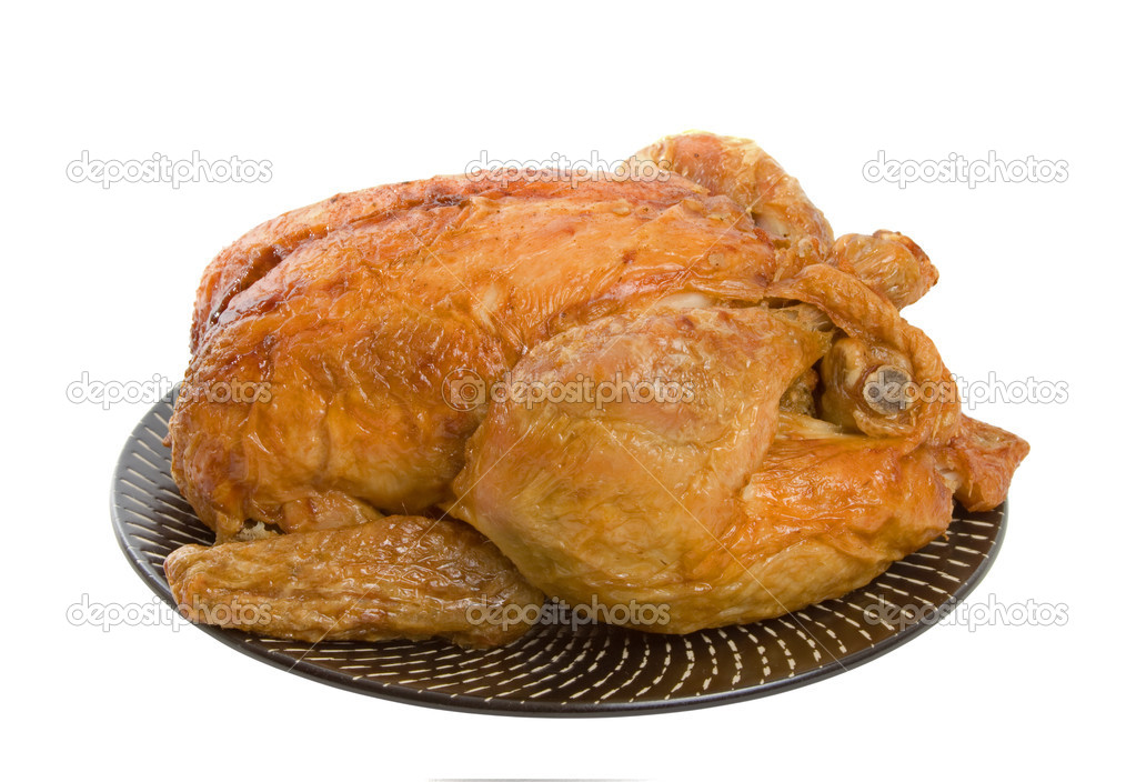 Roast Chicken on plate isolated over white background — Stock Photo #2240896
