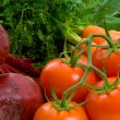 Close up of Beetroot, Carrots, Tomatoes — Stock Photo