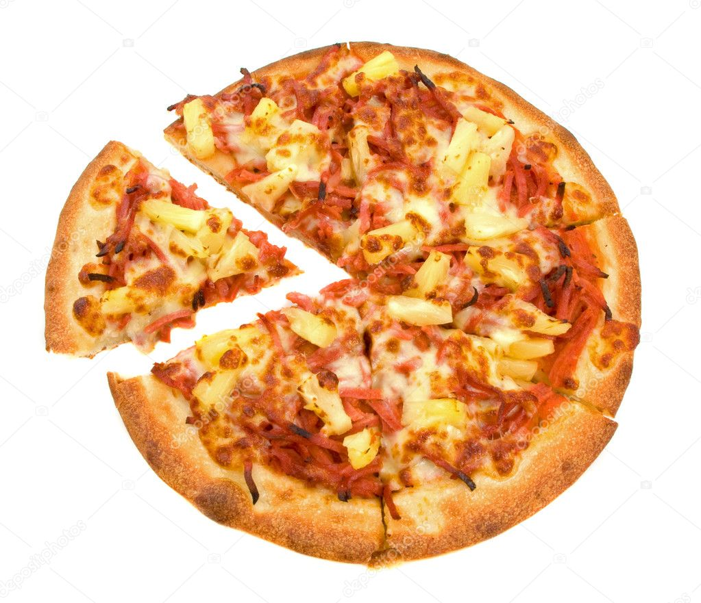 Whole Ham and Pineapple Pizza over white background  Photo #2258378