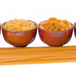 Selection of Pasta over white background — Stock Photo