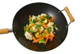 Fresh vegetables in wok — Stock Photo