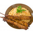 Fried Rice and Chicken Sticks — Stock Photo