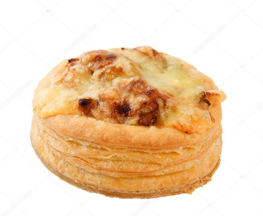 Chicken Pie topped with melted cheese over white background. — Stock Photo #2289227