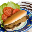 Roast Beef Roll and Salad over white - Stock Photo