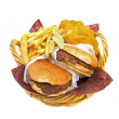 Hamburgers Fries and Potato Cakes — Stock Photo