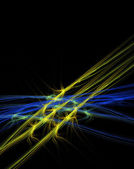 Blue and Yellow Abstract Barbed Wire — Stock Photo