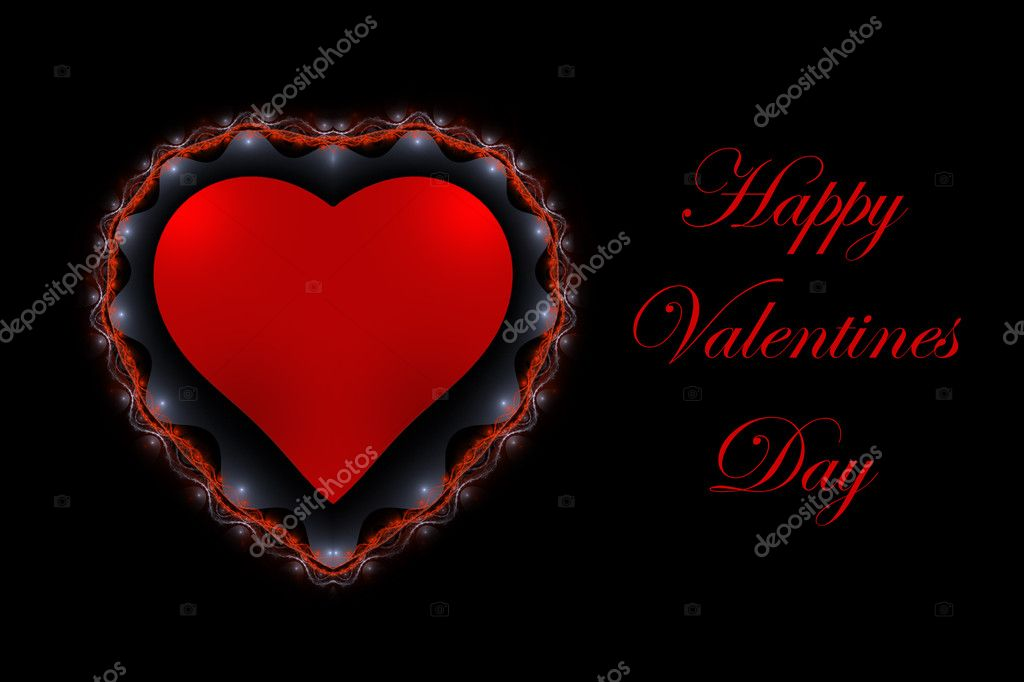 Valentines Day love heart over black background — 图库照片 #2478107