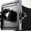 Large format camera front taken from the side — Stock Photo