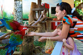 Mum and daughter feed a parrot — Stock Photo