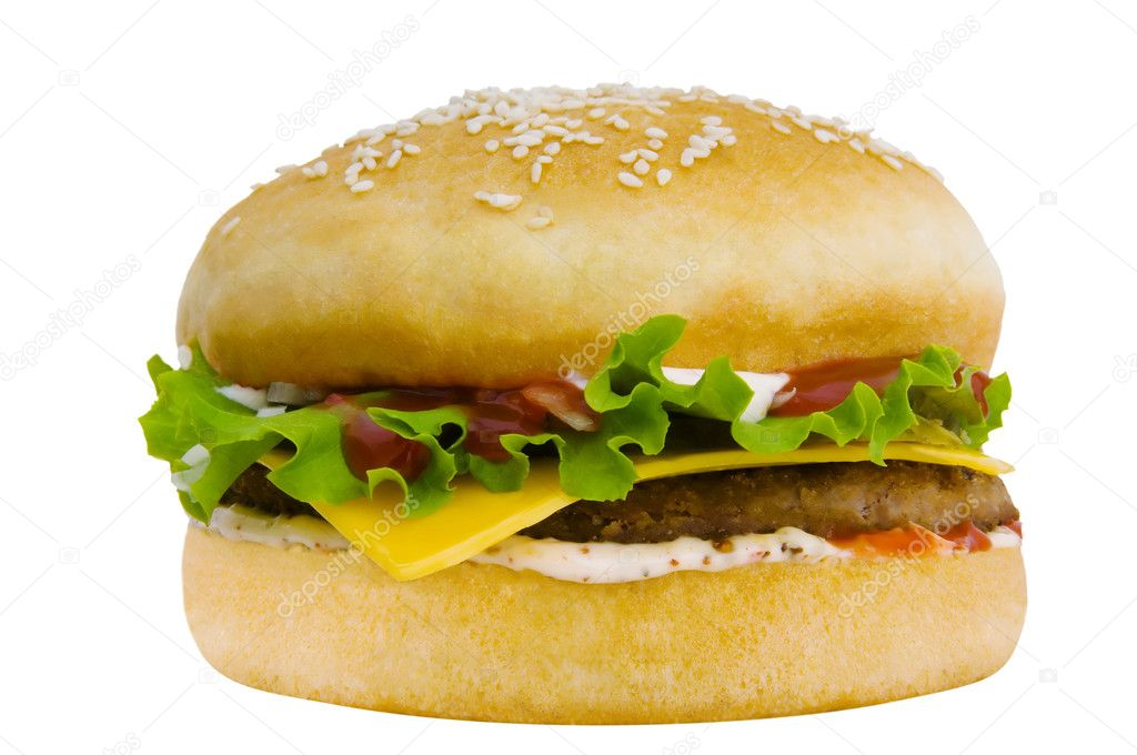 Fresh, tasty hamburger with vegetables and meat  Stock Photo #2225923