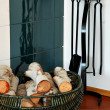 Stock Photo: Basket and wood
