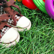 Stock Photo: Sneakers and toys detail
