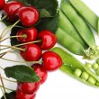Peas and cherries 2 — Stock Photo
