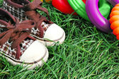 Sneakers and toys detail — Stock Photo