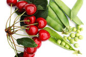 Peas and cherries 2 — Stock Photo
