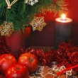 Royalty-Free Stock Photo: Apples, Gingerbread and candle