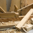 Joinery workshop with wood tools — Stock Photo