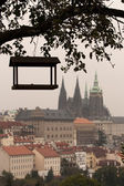 Feeder and Prague castle — Stock Photo