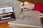 Illustrator iş başında — Stok fotoğraf