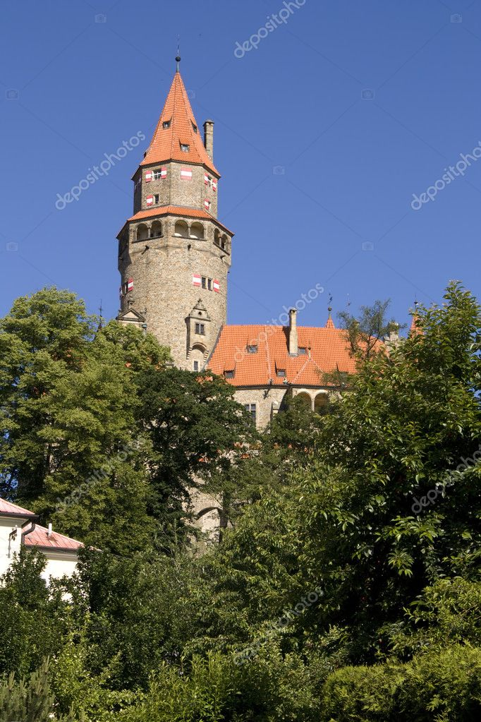 Bouzov castle, Czech republic - gothic medieval tower — Stock Photo #2236065