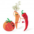Stock Vector: Red vegetables