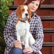 Woman with puppy — Stock Photo